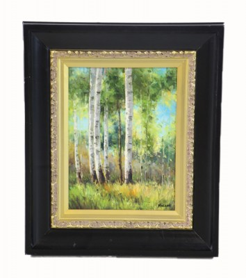 Oil Painting Of A Spring Forest