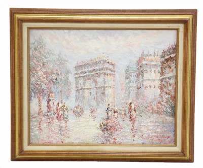 Impressionist Arc D'Triomphe Scene in Paris