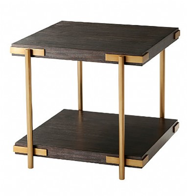 Wooden Brass Side Table