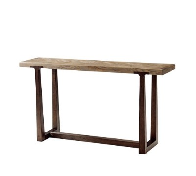 OAK PARQUETRY TOP CONSOLE TABLE.