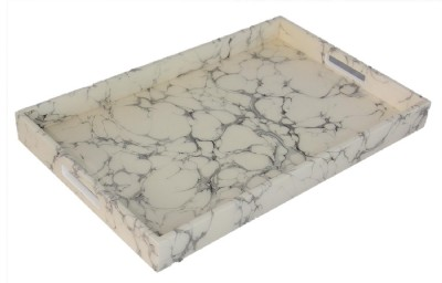 Offwhite Faux Marble Lacquered Tray