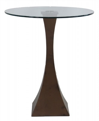 Glass Top Bronze Powder Coated Pub Table