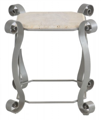 Metal and Stone End Table