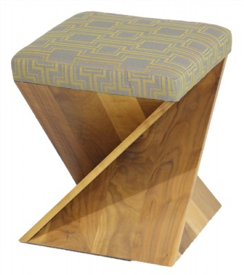 American Leather Upholstered Wooden Stool
