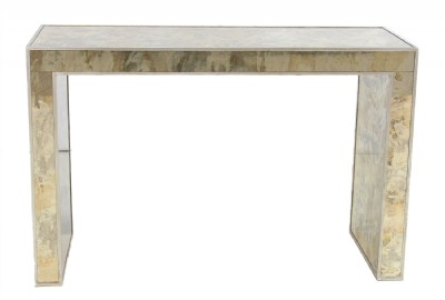 Antique Silver Leaf Mirrored Console Table
