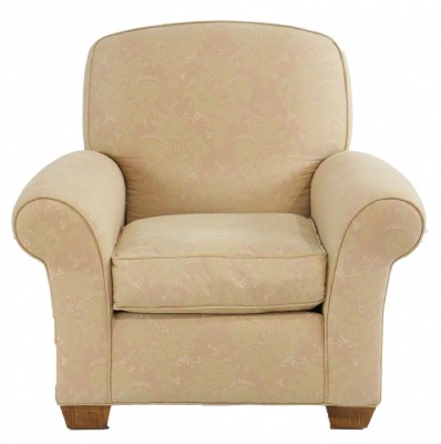 Pale Salmon Rolled Arm Armchair