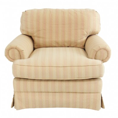 Pale Orange Striped Rolled Arm Armchair