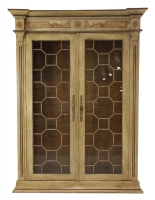 Two Door Curio with Divided Glass Doors