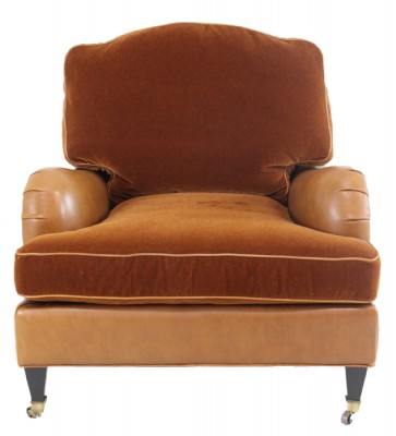 Leather Armchair with Front Casters
