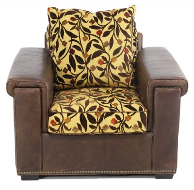 Leather Armchair With Upholstered Seat