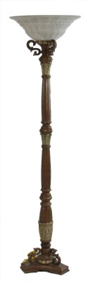 Traditional Floor Lamp with Opaque Glass Shade