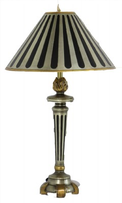 Black and Silver Striped Table Lamp