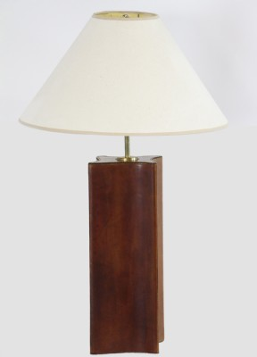 Leather Base WhiteShadeTable Lamp