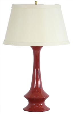 Oxblood Ceramic Gourd Base WhiteShadeTable Lamp