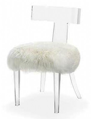 Tristan Klismos Chair - Ivory Sheepskin