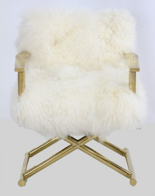 Emerson Directors Chair in Brass and Ivory Sheepsk