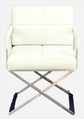 Contemporary White Leather Director's Chair