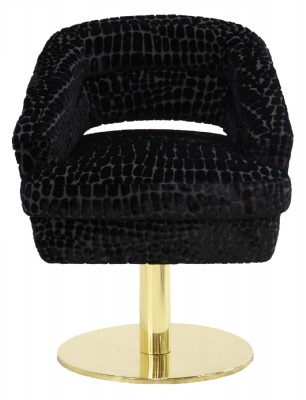 Contemporary Brass Frame Black Upholstered Swivel