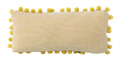 Custom Gold and Red Lumbar Pillow with Poms