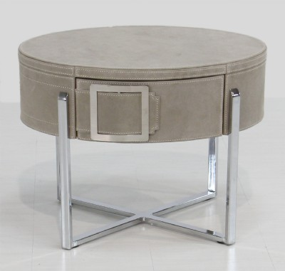 Suede Covered Stainless Frame End Table