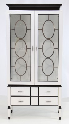 White Painted Display Cabinet with Black Highlight