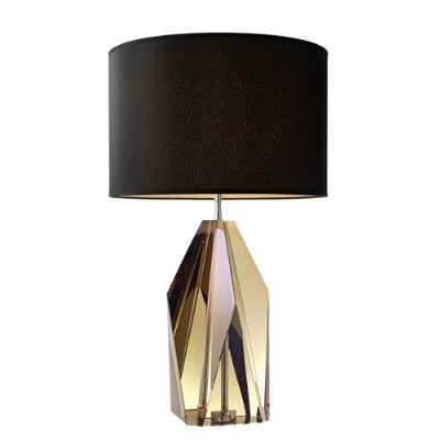 Setai Table Lamp With Amber Crystal Glass Base