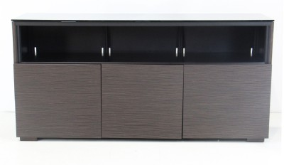 Brown Wood & Black Glass Media Cabinet