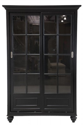 Black Painted Glass Door Bookcase