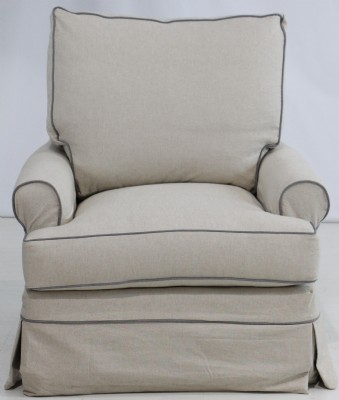 Slipcovered swivel glider