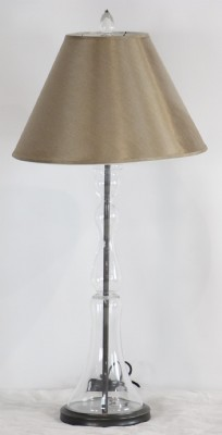 Silk Shade Glass Candlestick Table Lamp