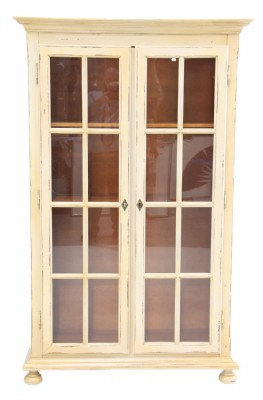 Distressed Painted Glass Door Boocase