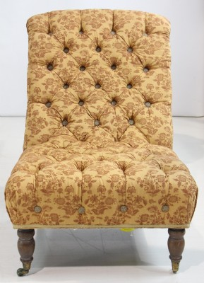 Custom Upholstered Tufted Sloped Side Chair