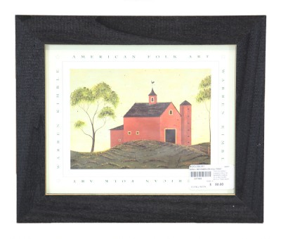 Small Red Barn on Hill Print