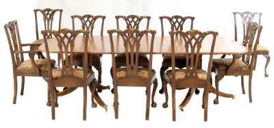 Banded Inlaid Chestnut and Yew Wood Dining Set