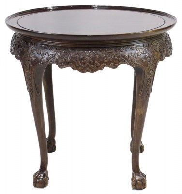 Ornate Carved Round Mahogany Occasional Table
