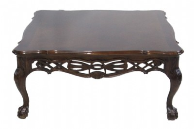 Ornate Carved Square Mahogany Cocktail Table