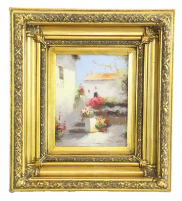 Gold Framed Tuscan Village Oil