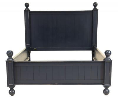 Blue Painted Queen Size Cannonball Style Bed