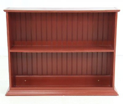 Red Painted Two Shelf Bookcase