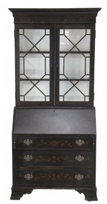 Asian Influenced Black Painted Secretary