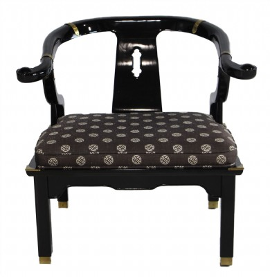 Chinese Style Black Lacquer Horseshoe Chair James
