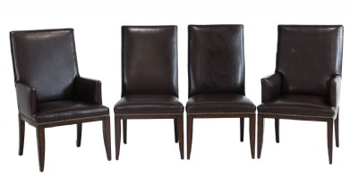 Set Of Four Leather Dining Chairs