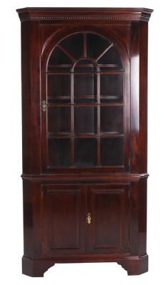 Mahogany Lighted Corner Cabinet Hutch