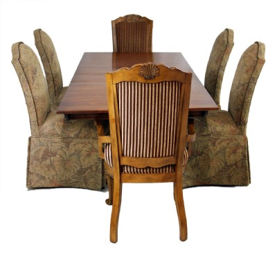Wooden Trestle Dining Table & Six Chairs