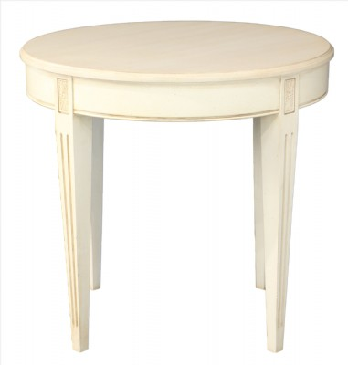 Round Cream Painted End Table