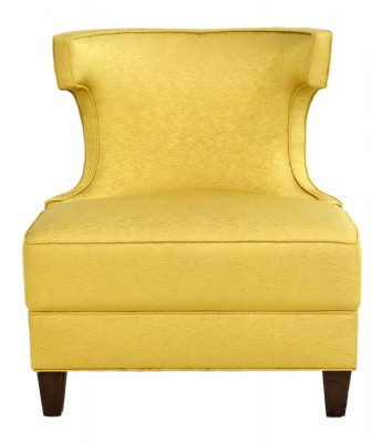 Gold Upholstered Curved Back Chair
