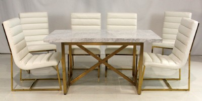 Carrera Marble Table & Leather Chairs