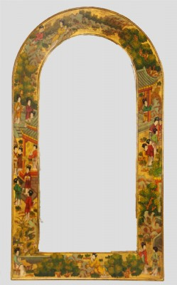 Asian Decoratively Painted Barrel Top Mirror