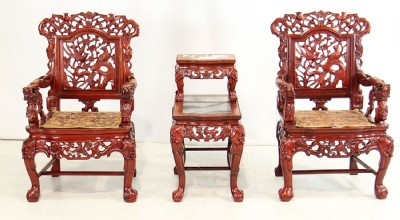 Hand Carved Asian Mahogany Chairs & Matching Table