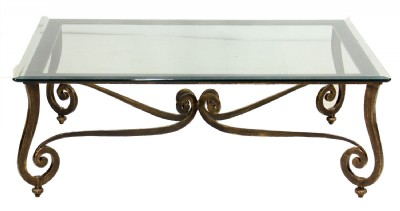 Metal Framed Glass Top Cocktail Table